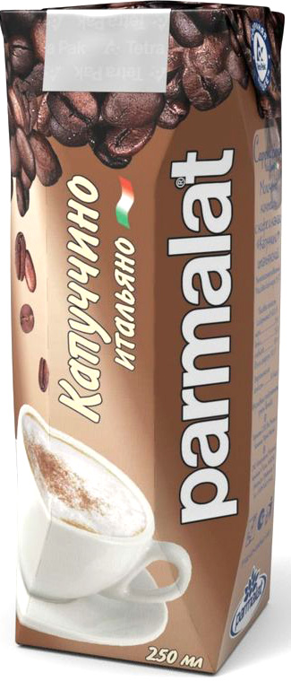 Parmalat Капучино ультрапастеризованный коктейль молочный с кофе и какао 1,5%, 0,25 л502426Молочный коктейль с кофе и какао Капучино итальянский ультрапастеризованный с массовой долей жира 1,5%.