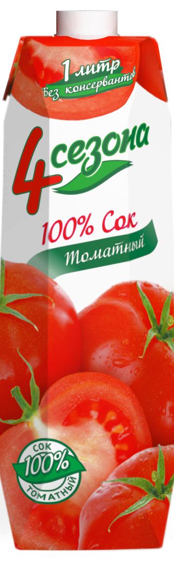4 сезона Сок Томатный, 1 л549320Томатный сок для детского питания восстановленный с мякотью, с солью.