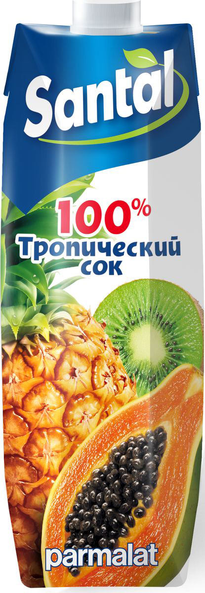 Santal Сок Тропический, 1 л7640135020011Сок мультифруктовый Тропические фрукты для детского питания, восстановленный