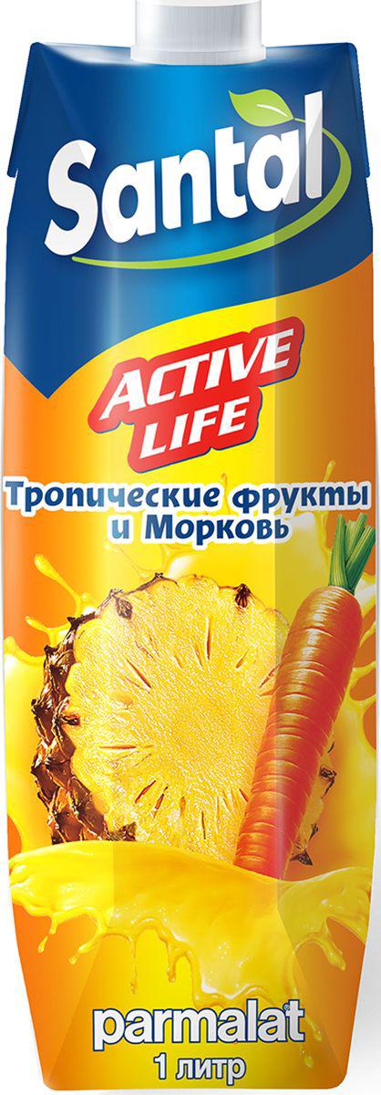 Santal Нектар Active Life Тропик - Морковь, 1 л550002Нектар из смеси фруктов и моркови с мякотью.