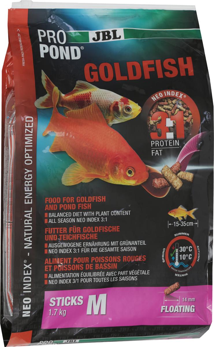Корм JBL ProPond. Goldfish M для золотых рыбок среднего размера, плавающие палочки, 1,7 кг (12 л)65415Корм JBL ProPond. Goldfish M в виде плавающих палочек предназначен для средних и крупных золотых рыбок. Это основной корм с правильным соотношением белков и жиров 3:1 по индексу NEO Index, учитывающему температуру воды, функции, размер и возраст питомцев. NEO Индекс буквально означает: натуральное энергетически оптимизированное питание. Если рассматривать с точки зрения времени года, рыбы зимой должны получать вдвое меньше белков (2:1), чем летом (4:1). Однако учитываются не только время года и температура воды, но и размер, и возраст, а также функция корма (например, для роста - ProPond Growth). NEO Индекс сочетает в себе все эти нюансы. Корм содержит пшеницу, лосось, креветки и шпинат для силы и здоровья золотых рыбок (при температуре воды 10-30°С). Размер корма M (14 мм) предназначен для рыб 15-35 см. Плавающие палочки с 20% белка, 6% жира, 3% клетчатки и 9% золы. Корм в виде палочек хранится в закрывающейся герметичной свето- и водонепроницаемой упаковке для лучшего качества. Товар сертифицирован.