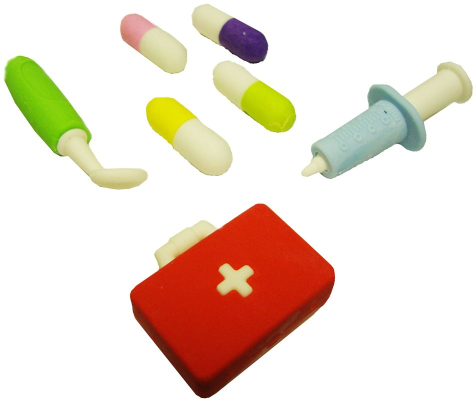 Карамба Ластик Набор доктора с чемоданомFS-00897Ластик выполнен в виде четырех медицинских предметов.