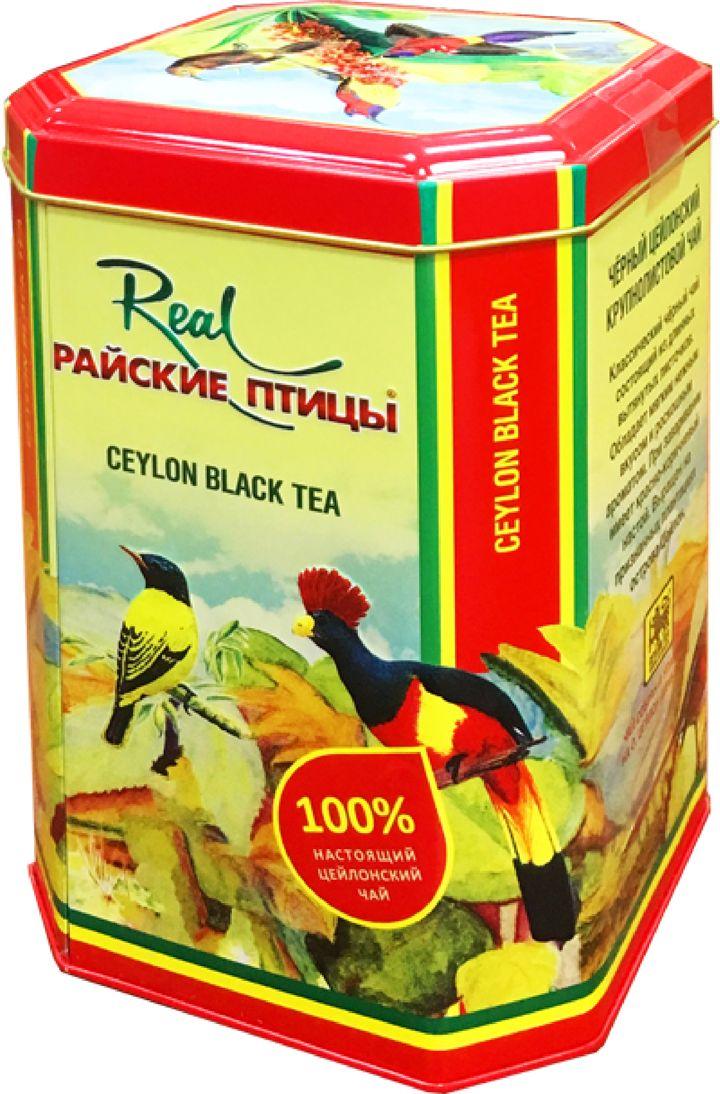 Real Райские птицы особо крупный листовой черный чай (ОПА), 250 г (жестяная банка)216Чёрный байховый чай Райские птицы, О.П.А. (O.P.A.) крупнолистовой. Чай выращен на Цейлоне о.Шри-Ланке и упакован в России, цвет настоя тёмно-красный.