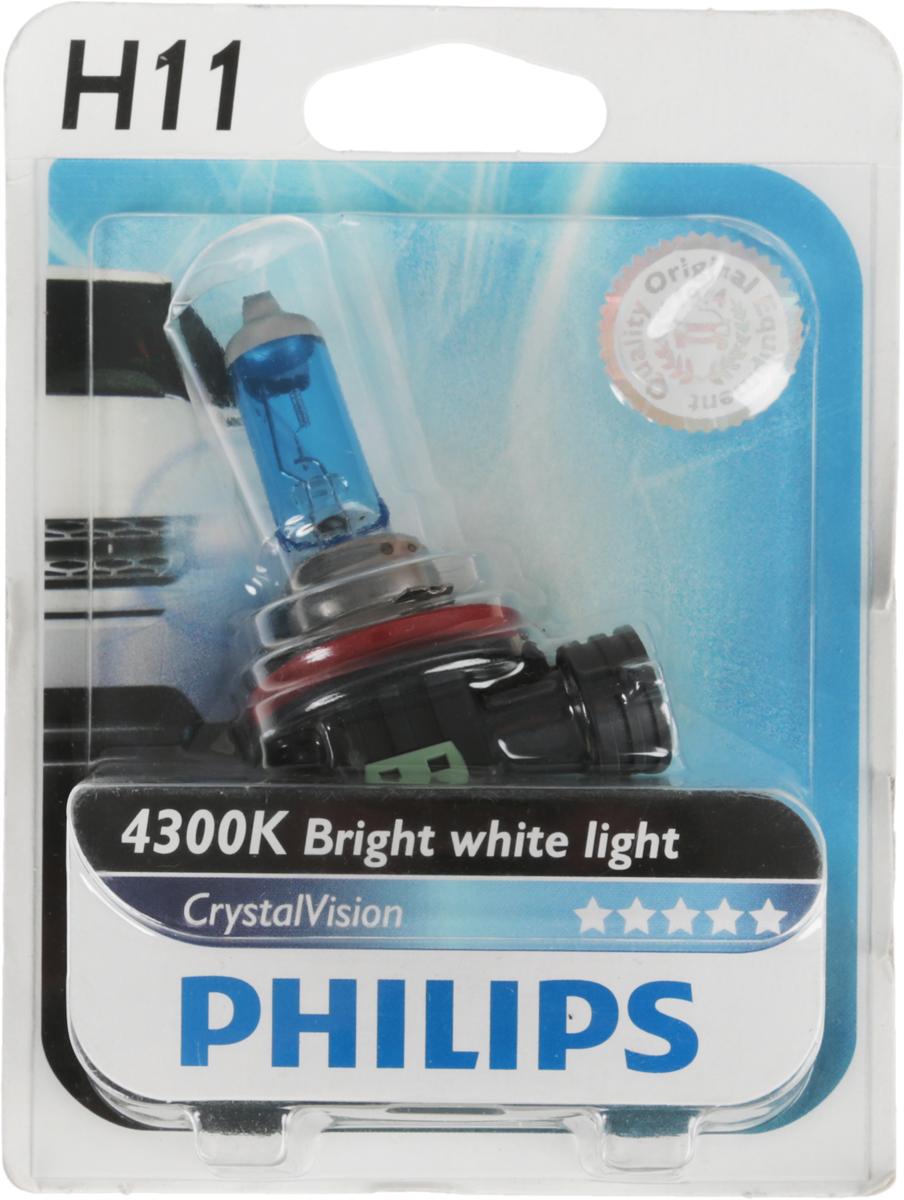 Галогенная лампа Philips Crystal Vision Bright, цоколь H11, 12В, 55 Вт10503Автомобильная галогенная лампа Philips Crystal Vision Bright произведена из запатентованного кварцевого стекла с УФ фильтром Philips Quartz Glass. Кварцевое стекло Philips в отличие от обычного твердого стекла выдерживает гораздо большее давление смеси газов внутри колбы, что препятствует быстрому испарению вольфрама с нити накаливания. Кварцевое стекло выдерживает большой перепад температур, при попадании влаги на работающую лампу изделие не взрывается и продолжает работать. Лампа Philips CrystalVision имеет мощный белый свет с цветовой температурой 4300К. Разработана для водителей, которым необходимо яркое освещение на дороге и важен индивидуальный стиль. Увеличенная светоотдача позволяет гораздо лучше различать дорожные знаки и препятствия. Лампа подходит для всех погодных условий, особенно ощутимый визуальный комфорт при поездках в ночное время. Автомобильные галогенные лампы Philips удовлетворят все нужды автомобилистов: дальний свет, ближний свет, передние противотуманные фары, передние и боковые указатели поворота, задние указатели поворота, стоп-сигналы, фонари заднего хода, задние противотуманные фонари, освещение номерного знака, задние габаритные/стояночные фонари, освещение салона.