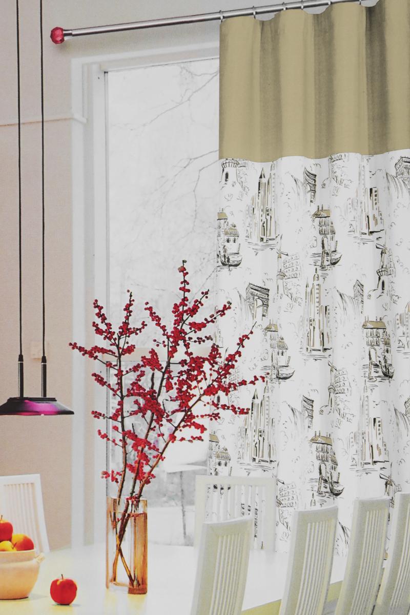 Штора готовая для кухни Garden, на ленте, цвет: светло-зеленый, размер 150 x 180 смС 5313 - W1887 - W1222 V3_светло-зеленыйШтора на ленте для кухни Garden - универсальная и интересная серия домашних штор для яркого и стильного оформления окон и создания особенной уютной атмосферы. Эта штора великолепно смотрится как одна, так и в паре, в комбинации с нежной тюлевой занавеской, собранная на подхваты и свободно ниспадающая естественными складками. Такая штора, изготовленная полностью из прочного и очень практичного полиэстерового полотна, долговечна и не боится стирок, не сминается, не теряет своего блеска и яркости красок. Размеры: 150 х 180