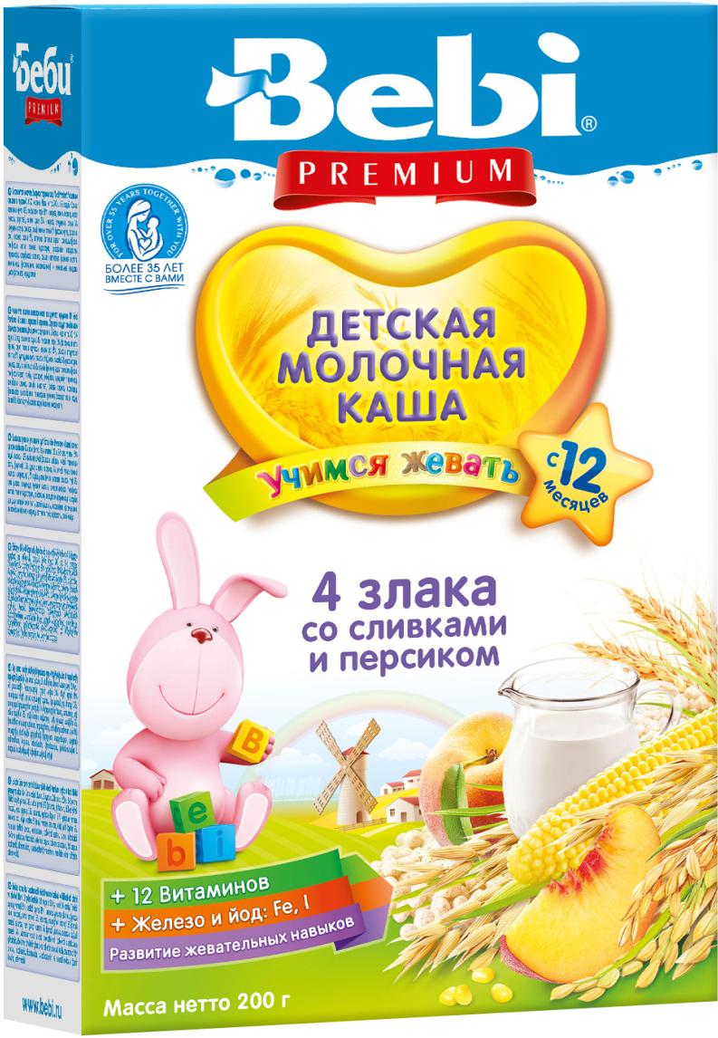 Bebi Премиум каша 4 злака со сливками и персиком молочная, с 12 месяцев, 200 г0120710Молочная каша из 4 злаков со сливками и персиком — полезное и питательное блюдо. Нежность сливок и бархатистый вкус персика подарят наслаждение даже малоежке. Данный фрукт отличается не только ярким вкусом и ароматом, но и пользой. Легкие злаковые хлопья позволяют малышам учиться пережевывать пищу, развивая жевательные навыки. В персике содержится много витаминов (группы В, С, Е, К, РР, каротин) и минералов (магний, калий, железо, марганец, фосфор, селен, цинк, медь). Молочная каша с персиком может быть введена в рацион ребенка с 12 месяцев. Смешайте 35 г (4?5 ст. ложек) хлопьев с 150 мл кипяченой воды температурой 50?60 °С. Готовьте ребенку свежую кашу каждый раз перед кормлением. Вскрытую упаковку храните в сухом темном месте, плотно закрыв пакет на липкую ленту.