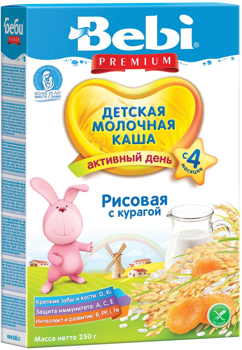 Bebi Премиум каша рисовая с курагой молочная каша, с 4 месяцев, 250 г0120710Рис богат клетчаткой, белком и крахмалом, за счет чего обеспечивает длительное насыщение. Курага является источником калия, железа, каротина и прекрасно разнообразит злаковый рацион ребенка. Молочная рисовая каша с курагой содержит 12 витаминов и микроэлементы, необходимые для полноценного развития ребенка, в том числе железо и йод. Может использоваться в питании детей с 4 месяцев. Каша не требует варки. Перемешайте хлопья (30 г, или 3–4 столовые ложки) с кипяченой водой (150 мл), охлажденной до 50–60 ?С. После приготовления кашу следует сразу дать ребенку. Упаковку нужно хранить в сухом прохладном месте. После каждого применения тщательно закрывайте коробку.