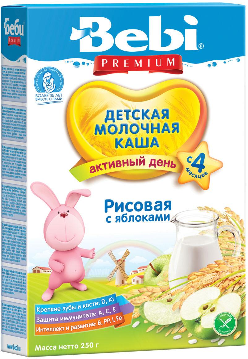 Bebi Премиум каша рисовая с яблоками молочная каша, с 4 месяцев, 250 г0120710Молочная рисовая каша с яблоками Bebi Premium подходит для начала прикорма для малышей склонных к недобору веса, не склонных к аллергии. Рис является источником белка, углеводов и клетчатки, а также полезных минеральных веществ: железа, калия, фосфора, меди, натрия и др. Яблочный сок делает блюдо более вкусным и ароматным. Кроме того, он богат витаминами группы B, железом и пектином, способными выводить токсины из организма. Рисовая каша практически не влияет на перистальтику кишечника и может применяться у детей со склонностью к задержке стула. Продукт обогащен 12 витаминами, йодом и железом. Допустим для питания ребенка с 4 месяцев. Перемешайте 35 г хлопьев (4–5 столовых ложек) с 150 мл кипяченой воды температурой 50–60 ?С. Давайте ребенку только свежеприготовленный продукт. Надежно закрывайте упаковку, храните ее в темном прохладном месте.