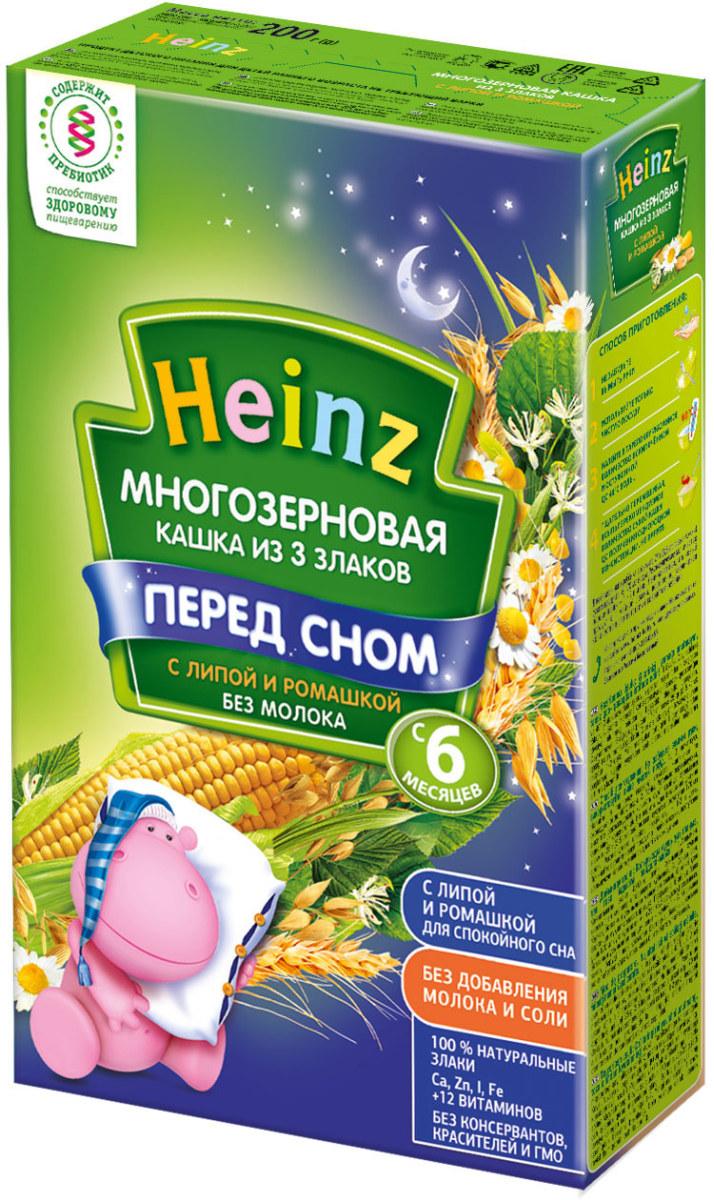 Heinz каша многозерновая из 3 злаков с липой и ромашкой, с 6 месяцев, 200 г75980008Для 6-месячного ребёнка возьмите 25 г (3,5 столовые ложки) сухого продукта на 170 мл воды. Налейте в тарелочку указанное количество вскипячённой и остуженной до 40°С воды. Тщательно перемешивая, всыпьте рекомендуемое количество сухой каши до получения однородной консистенции. Не варите.Продукт содержит глютен и может содержать незначительное количество молока.