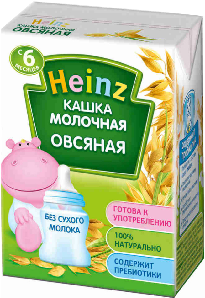 Heinz каша овсяная молочная питьевая, с 6 месяцев, 200 г75980224Перед употреблением необходимое количество каши перелить из пакета в посуду для кормления. По желанию подогреть на водяной бане до температуры кормления (36-37 С) и хорошо перемешать. Перед применением взбалтывать.Продукт содержит глютен и молоко