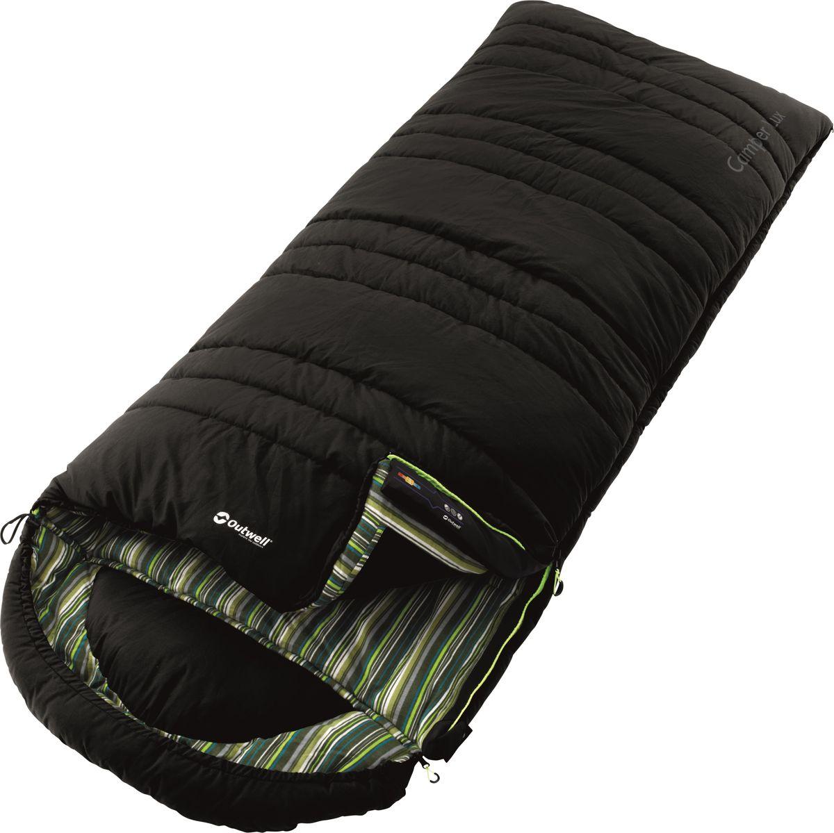Спальный мешок Outwell Camper Lux, двусторонняя молния, цвет: темно-серый230081Спальные мешки Outwell Camper Lux выполнены из трикотажного полиэстера. В спальнике в качестве наполнителя используется двойной слой Isofill. Снабженный всеми функциями, спальный мешок надежно прослужит вам не один год.Особенности:Комфортный капюшон.Защита молнии для тепла на полную длину.Внутренний карман для небольших вещей.Угловые петли крепления вкладыша.Компрессионный мешок.Защита от заедания молнии.