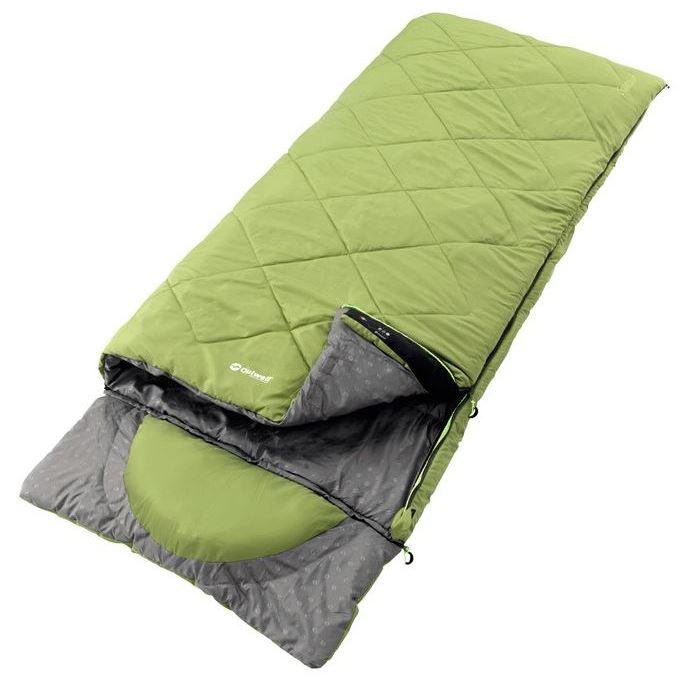 Спальный мешок Outwell  Contour Green , двусторонняя молния, цвет: зеленый, 225 х 90 см - Спальные мешки