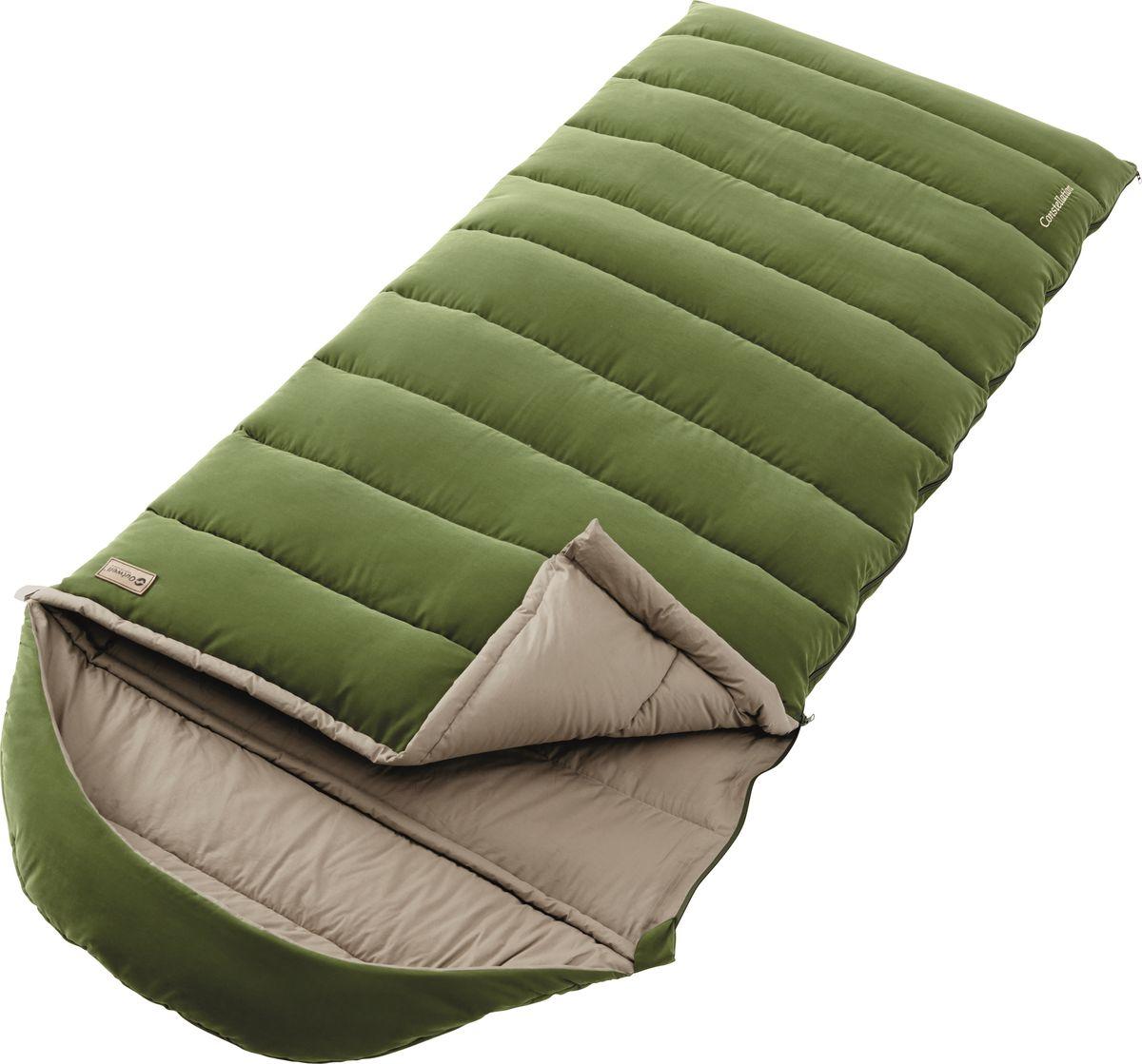 Спальный мешок Outwell Constellation, цвет: зеленый, двусторонняя молнияKOC-H19-LEDСпальный мешок Outwell Constellation однослойный, прочный и ультра-мягкий. Матовая внешняя сторона, 100% хлопковая подкладка и наполнитель премиум Isofill обеспечивают лучший в кемпинге комфорт. Просторный спальный мешок с возможностью полностью расстегнуть и использовать как большое одеяло.