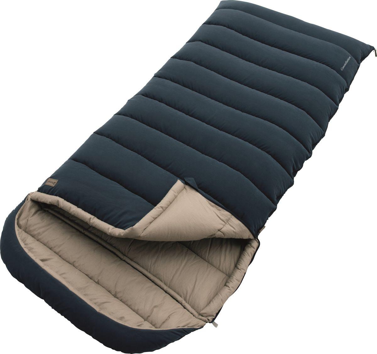 Спальный мешок Outwell Constellation Lux, цвет: синий, двусторонняя молнияP7.2 NСпальный мешок Outwell Constellation прочный и ультра-мягкий. Матовая внешняя сторона, 100% хлопковая подкладка и наполнитель премиум Isofill обеспечивают лучший в кемпинге комфорт. Просторный спальный мешок с возможностью полностью расстегнуть и использовать как большое одеяло.