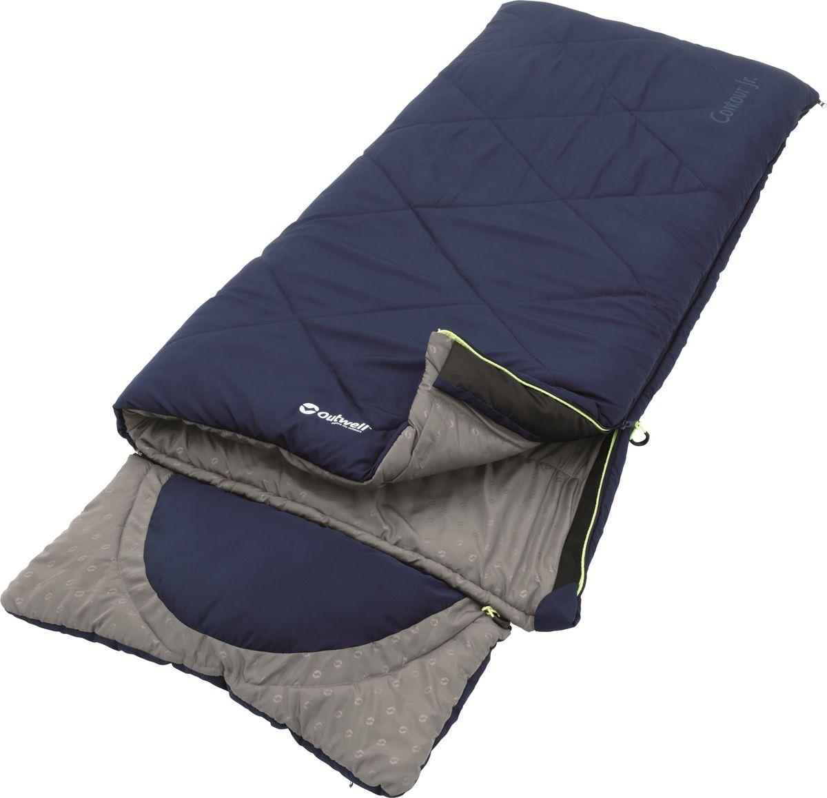 Спальный мешок Outwell Contour Junior Blue, цвет: синий, двусторонняя молния230149Практичные, удобные и простые в использовании, спальные мешки линии Contour Junior, идеальны для того, чтобы маленькие туристы наслаждались жизнью в палатке. Contour Junior - спальные мешки из микрофибры с двухслойным наполнителем Isofill, дополненные практичными деталями. Подходят для использования на природе и дома.