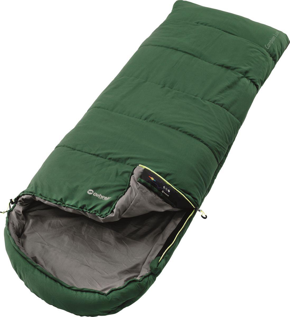 Спальный мешок Outwell Campion Lux Green, левосторонняя молния, цвет: зеленый230185Спальные мешки Outwell Campion Lux Green выполнены из трикотажного полиэстера. В спальнике в качестве наполнителя используется двойной слой Isofill. Снабженный всеми функциями, спальный мешок надежно прослужит вам не один год.Особенности:Комфортный капюшон.Защита молнии для тепла на полную длину.Внутренний карман для небольших вещей.Угловые петли крепления вкладыша.Компрессионный мешок.Защита от заедания молнии.