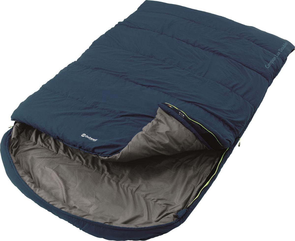 Спальный мешок Outwell  Campion Lux Double Blue , двусторонняя молния, цвет: темно-синий - Спальные мешки