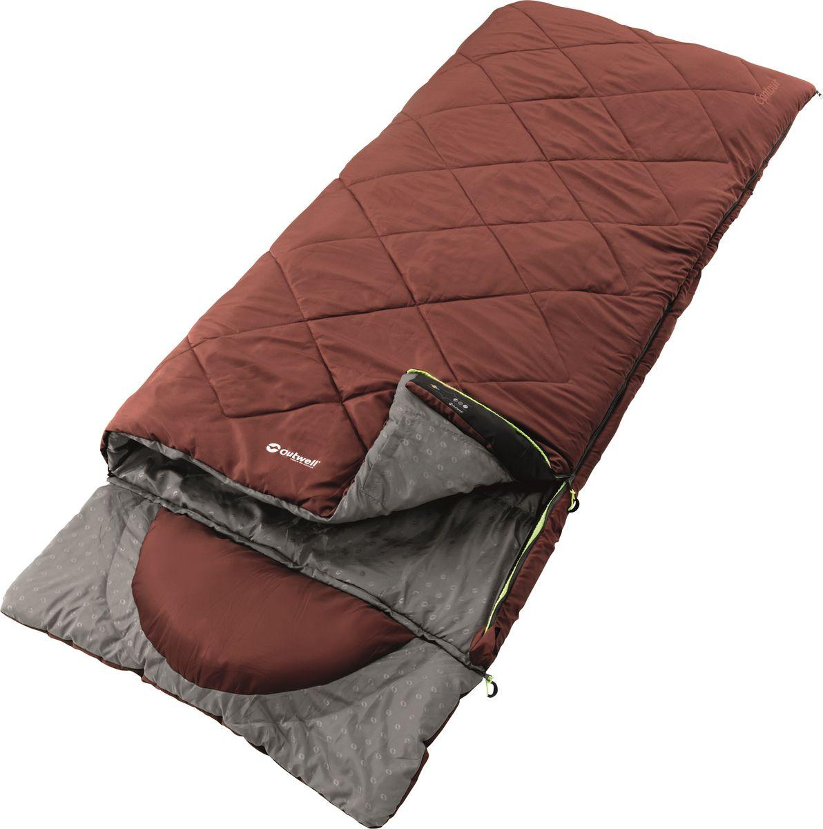 Спальный мешок Outwell  Contour Red , двусторонняя молния, цвет: красный, 225 х 90 см - Спальные мешки