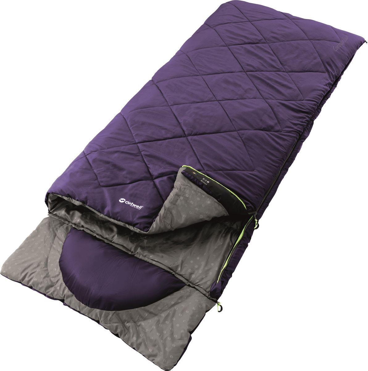Спальный мешок Outwell  Contour Purple Lux , двусторонняя молния, цвет: фиолетовый, 225 x 90 см - Спальные мешки