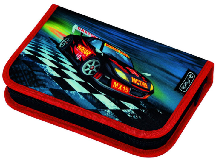 Herlitz Пенал Super Racer с наполнением 31 предмет цвет красный темно-синий50008414_красная окантовкаHerlitz Пенал Super Racer с наполнением 31 предмет цвет красный