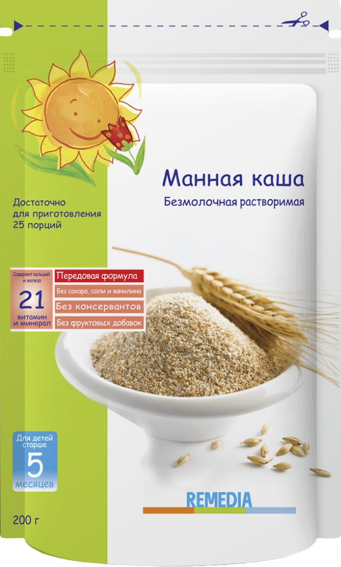 Remedia каша манная безмолочная пауч, с 5 месяцев, 200 г4101010132Рекомендована детям, которые плохо набирают рост и массу телаХарактеризуется высоким содержанием пшеничных протеинов. Содержит селен для укрепления иммунной системы ребенкаСодержит железо, которое препятствует развитию анемии.Богата витаминами группы В, калием и кальцием.Легко усваиваемый продукт