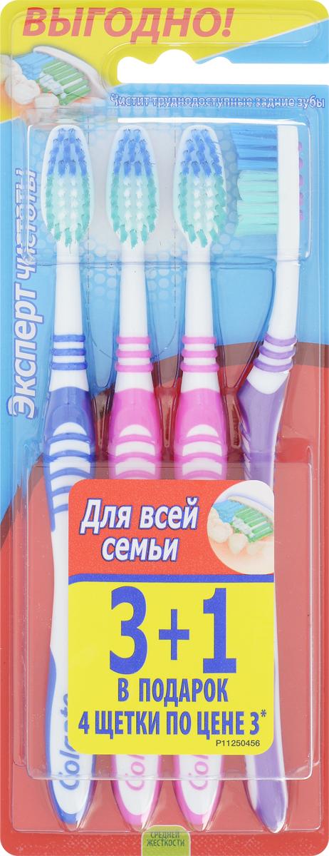 Colgate Зубная щетка Эксперт чистоты, средней жесткости, 3+1, цвет: синий, фиолетовый, розовыйFVN52196_розовый, фиолетовыйЗубная щетка Colgate Эксперт чистоты чистит и проникает в труднодоступные места. Выступающий кончик щетинок великолепно очищает задние коренные зубы. Мягкая резиновая подушечка для чистки языка удаляет бактерии, вызывающие неприятный запах изо рта. Товар сертифицирован.