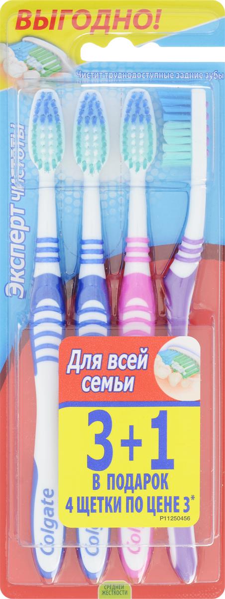 Colgate Зубная щетка Эксперт чистоты, средней жесткости, 3+1, цвет: розовый, синий, фиолетовыйSatin Hair 7 BR730MNЗубная щетка Colgate Эксперт чистоты чистит и проникает в труднодоступные места. Выступающий кончик щетинок великолепно очищает задние коренные зубы. Мягкая резиновая подушечка для чистки языка удаляет бактерии, вызывающие неприятный запах изо рта. Товар сертифицирован.
