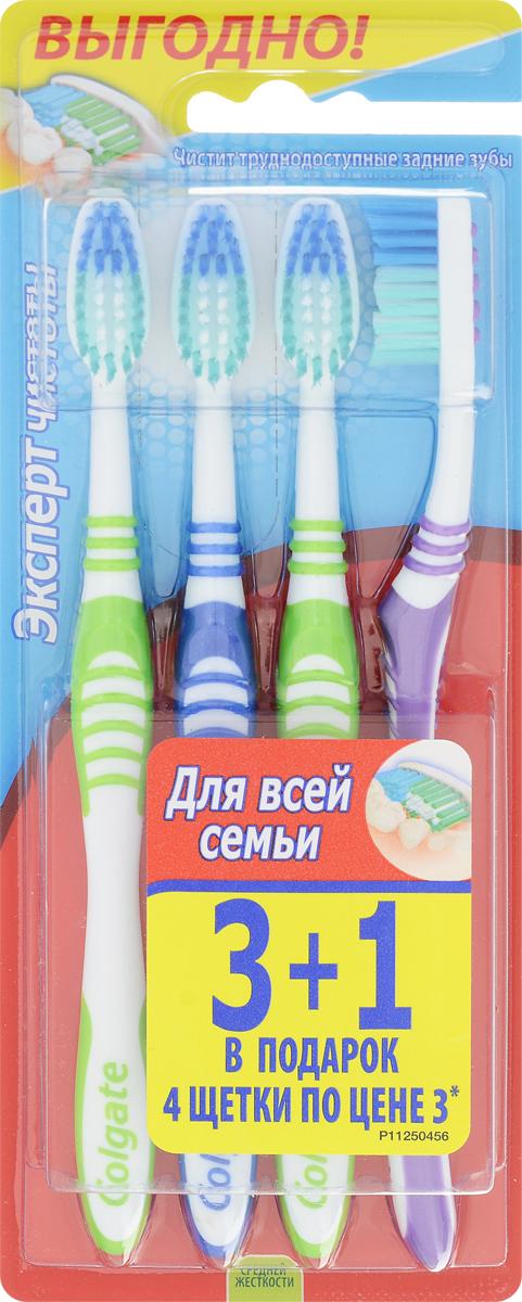 Colgate Зубная щетка Эксперт чистоты, средней жесткости, 3+1, цвет: салатовый, синий, фиолетовыйSatin Hair 7 BR730MNЗубная щетка Colgate Эксперт чистоты чистит и проникает в труднодоступные места. Выступающий кончик щетинок великолепно очищает задние коренные зубы. Мягкая резиновая подушечка для чистки языка удаляет бактерии, вызывающие неприятный запах изо рта. Товар сертифицирован.
