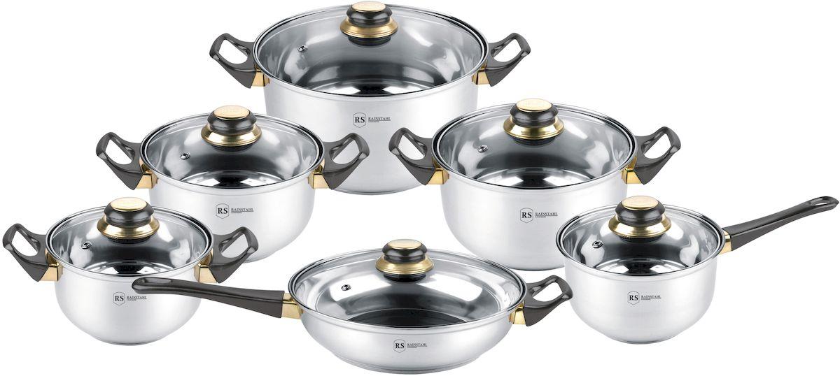 Набор посуды Rainstahl, 12 предметов. 1230-12RS/CW BK1407-461Набор посуды из высококачественной нержавеющей стали. Термоаккумулирующее капсульное дно. Состав набора посуды: ковш с крышкой 16х9,5 см - 1,8 л.; кастрюля с крышкой 16х9,5 см - 1,8 л.; кастрюля с крышкой 18х10,5 см. - 2,7 л.; кастрюля с крышкой 20х11,5 см. - 3,6 л.; кастрюля с крышкой 24х13,5 см. - 6,1 л; сковорода с крышкой 24х6,5 см. - 2,8 л.