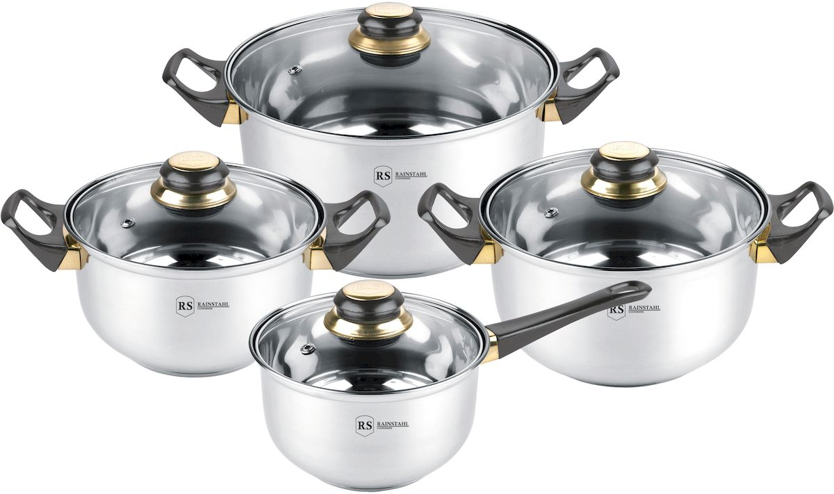 Набор посуды Rainstahl, 8 предметов. 1230-08RS/CW BK1407-461Набор посуды из высококачественной нержавеющей стали. Термоаккумулирующее капсульное дно. Состав набора посуды: ковш с крышкой 16х9,5 см - 1,8 л.; кастрюля с крышкой 18х10,5 см. - 2,7 л.; кастрюля с крышкой 20х11,5 см. - 3,6 л.; кастрюля с крышкой 24х13,5 см. - 6,1 л.