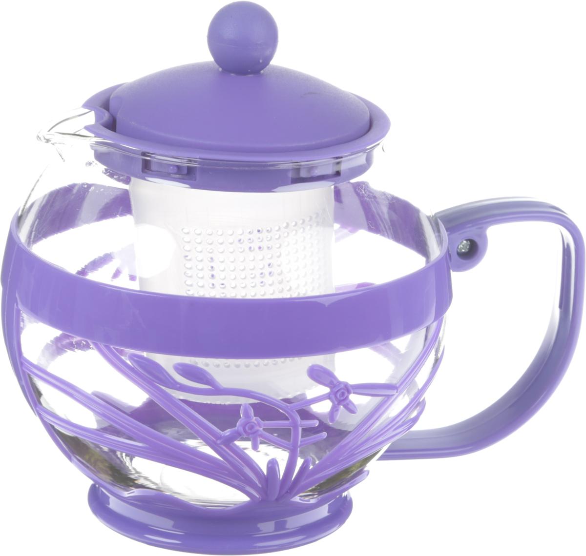 Чайник заварочный Wellberg Aqual, с фильтром, цвет: прозрачный, фиолетовый, 800 мл391602Чайник заварочный Wellberg Aqual изготовлен из высококачественного стекла и пластика. Изделие оснащено сетчатым фильтром, который задерживает чаинки и предотвращает их попадание в чашку, а прозрачные стенки дадут возможность наблюдать за насыщением напитка.Чай в таком чайнике дольше остается горячим, а полезные и ароматические вещества полностью сохраняются в напитке. Не рекомендуется мыть в посудомоечной машине.Диаметр чайника (по верхнему краю): 8 см.Высота чайника (с учетом крышки): 15 см.Размер фильтра: 6 х 6 х 6,5 см.