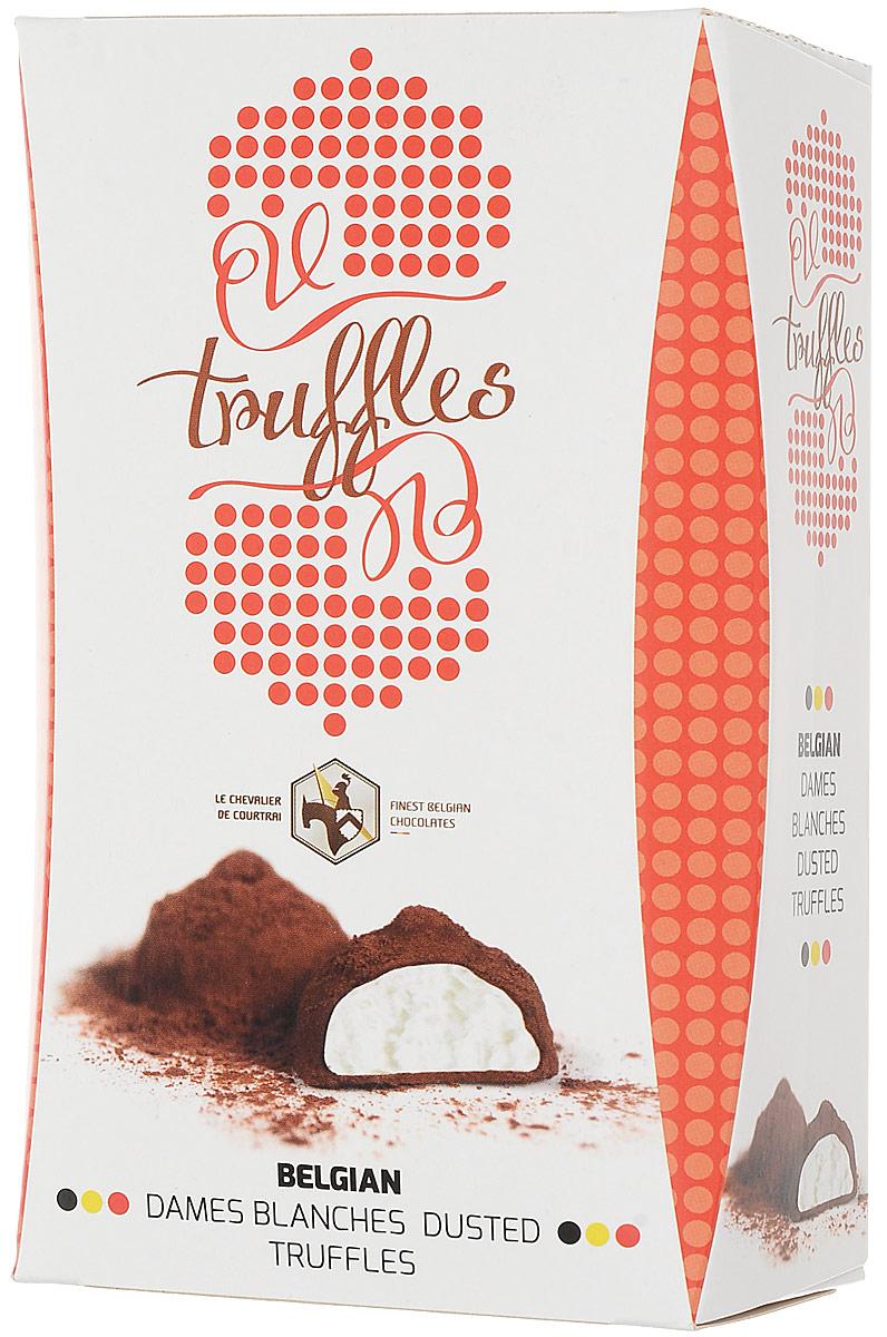 Le Chevalier de Courtrai Трюфель конфеты шоколадные с молочной начинкой Dames Blanches, 157 гМС-00008292Шоколадные конфеты Трюфель с молочной начинкой Dames Blanches Трюфель из бельгийского шоколада с молочным кремом, украшенный какао.С 1949 года компания Vandenbulcke Confiserie NV специализируется на производстве шоколадных конфет, морских ракушек, трюфелей, шоколадных плиток и сезонных подарочных изделий.Сегодня компания представлена более чем в 50 странах мира.