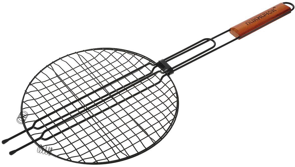 Решетка-гриль Пикничок Сицилийская, круглая, с антипригарным покрытием, диаметр 30 смTTB-008Решетка-гриль Пикничок Сицилийская изготовлена из высококачественной стали с антипригарным покрытием, поэтому при длительном использовании она не теряет своей формы, а так же вы легко удалите с нее остатки пищи. В решетке-гриль удобно готовить мясо, рыбу, морепродукты и овощи. Оригинальная форма решетки позволяет готовить в ней различные блюда нестандартной или круглой формы, например, пиццу или различные запеканки.Рукоятка изделия оснащена деревянной вставкой и фиксирующей скобой, которая зажимает створки решетки. Диаметр рабочей поверхности решетки (без учета усиков): 30 см.Глубина решетки: 3 см. Общая длина решетки (с ручкой): 72 см.