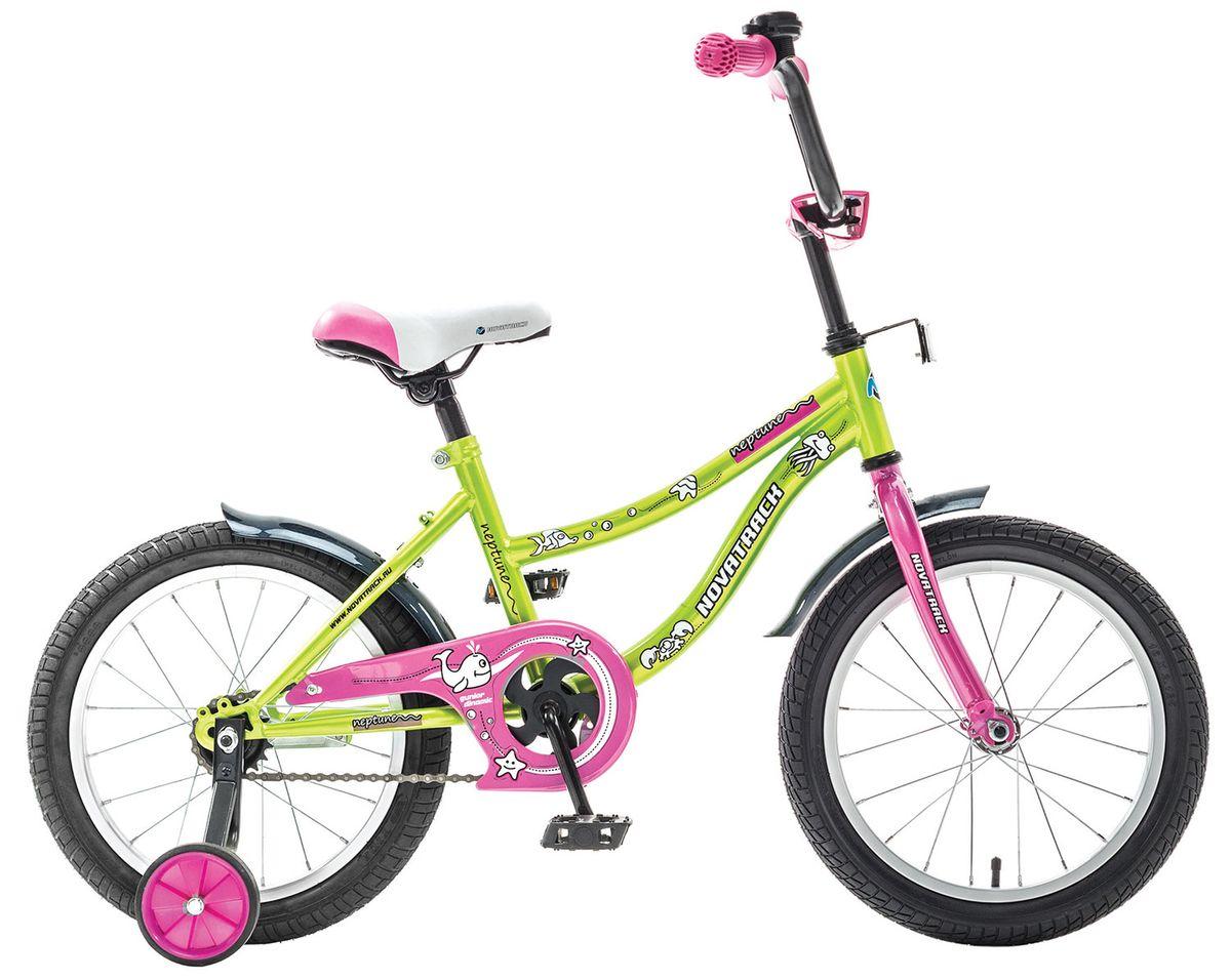 Велосипед детский Novatrack Neptune 16, цвет: светло-зеленый163NEPTUN.GN5Novatrack Neptun 16'' – это отличный подарок для ребенка 5-7 лет. Эта модель объединяет в себе привлекательный дизайн, легкость, отличную управляемость и универсальность. Ваш ребенок будет просто счастлив, став обладателем такой замечательной техники. Novatrack Neptun 16'' полностью подготовлен для того, чтобы маленьким велосипедистам было комфортно и интересно учиться самостоятельно кататься. Яркий дизайн, регулируемые сидение и руль с надежной фиксацией, защита цепи, велосипедный звонок, мягкие накладки на руле, катафоты, стильные укороченные крылья - все продумано до мелочей.