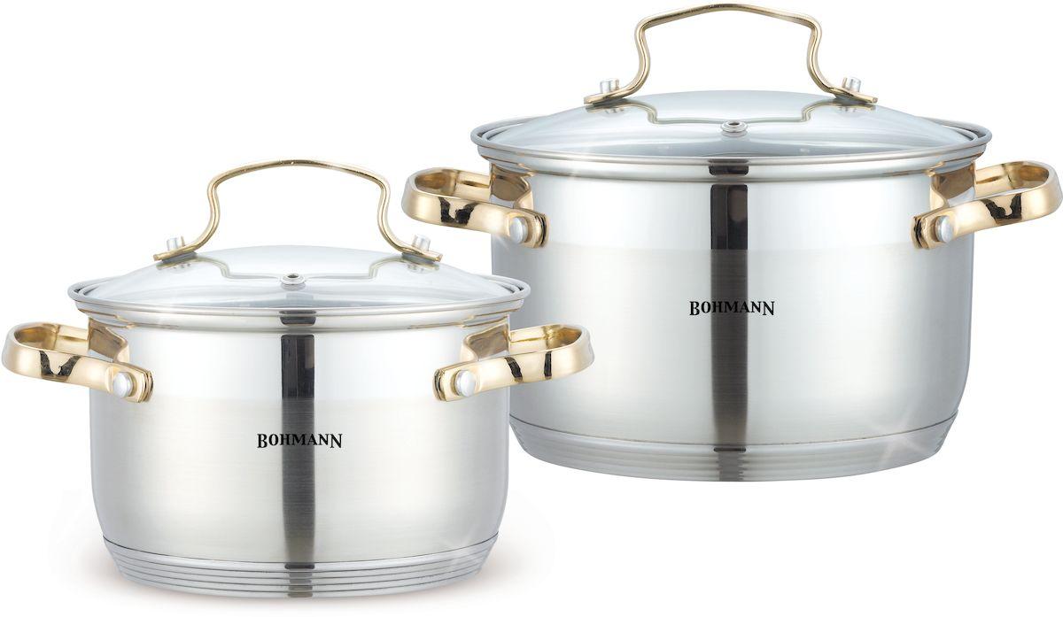 Набор посуды Bohmann, 4 предмета. 1902BHG1176-ВННабор посуды 4 предмета. Стальные ручки (под серебро), клепанные. Стеклянные крышки. Кастрюли: 16х10,5см -2. 1л; 18х11,5см-2,9л. Подходит для индукции.