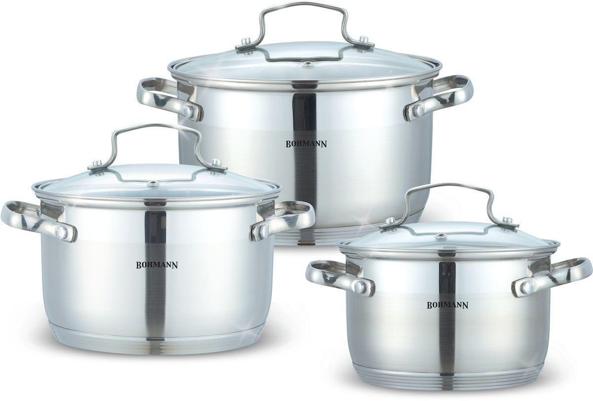 Набор посуды Bohmann, 6 предметов. 1903BH68/5/3Набор посуды 6 предметов. Стальные ручки (под серебро), клепанные. Стеклянные крышки. Кастрюли: 16х10,5см -2. 1л; 18х11,5см-2,9л; 20 x 12,5 - 3,9л. Подходит для индукции.