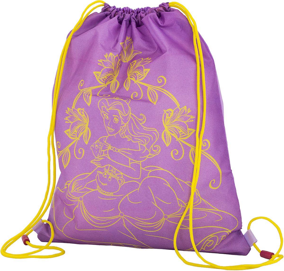 Disney Princess Сумка для сменной обуви PREB-MT2-88372523WDМешок для переноски обуви, выполнен из плотного водостойкого материала, затягивается сверху шнуром-лямкой и носится, как рюкзак. Размер 43 х 34 х 1 см.