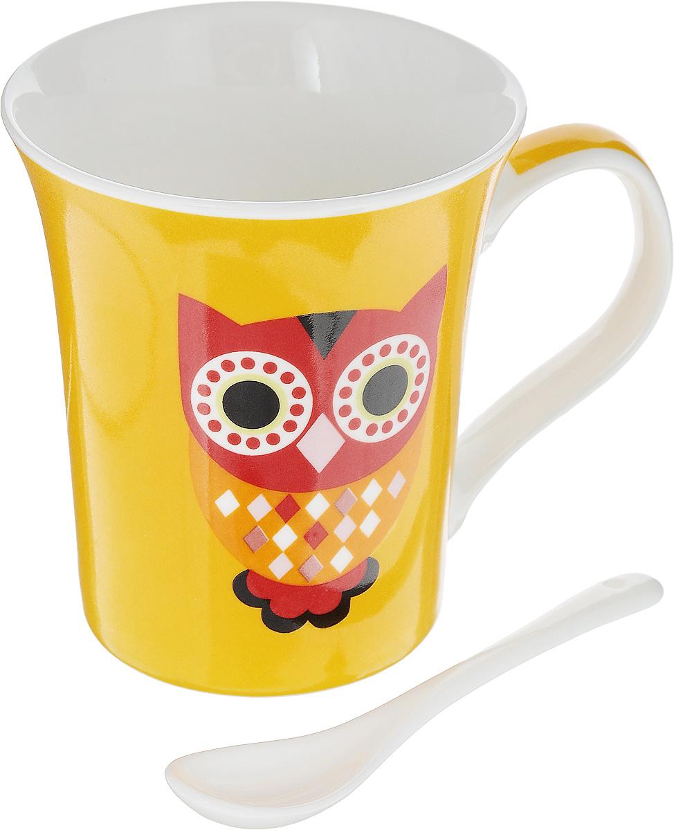 Кружка Доляна Совята, с ложкой, цвет: желтый, белый, 300 мл. 836426836426_желтый/соваКружка Доляна Совята, изготовленная из высококачественной глазурованной керамики, снабжена удобной ручкой. Такая кружка прекрасно оформит стол к чаепитию.В комплект входит чайная ложка. Объем кружки: 300 мл.Диаметр кружки (по верхнему краю): 9,5 см.Высота кружки: 10,5 см.Длина ложки: 10 см.Размер рабочей части ложки: 4 х 2,5 см.