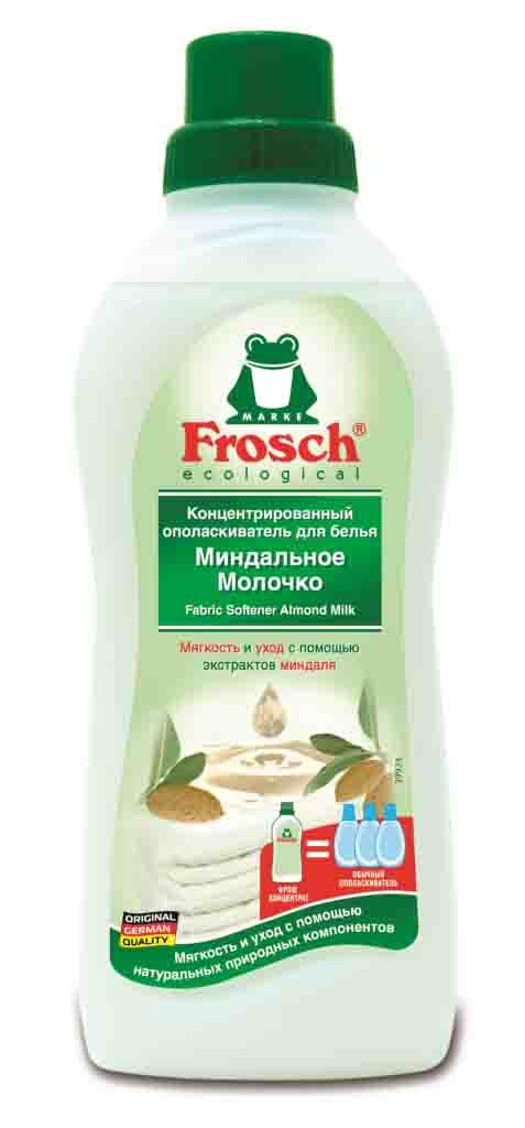 Ополаскиватель для белья Frosch Миндальное молочко, концентрированный, 750 мл709328Ополаскиватель для белья Frosch Миндальное молочко предназначен для цветного и белого белья. Состав с натуральными экстрактами миндаля нежно ухаживает за бельем и придает коже ощущение бархатистой мягкости. Благодаря содержанию натуральных отдушек снижается риск появления раздражения на коже. Не содержит фосфата, формальдегида и других опасных химикатов.Торговая марка Frosch специализируется на выпуске экологически чистой бытовой химии. Для изготовления своей продукции использует натуральные природные компоненты. Ассортимент содержит все необходимое для бережного ухода за домом и вещами. Продукция торговой марки Frosch эффективно удаляет загрязнения, оберегает кожу рук и безопасна для окружающей среды. Товар сертифицирован.Уважаемые клиенты! Обращаем ваше внимание на возможные изменения в дизайне упаковки. Качественные характеристики товара остаются неизменными. Поставка осуществляется в зависимости от наличия на складе.