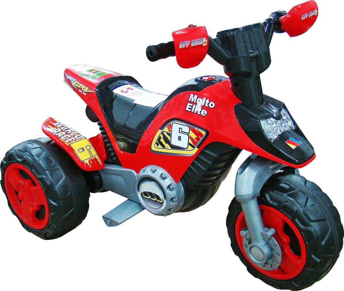 """""""Мотоцикл """"""""Molto Elite 6"""""""" - это трехколесный электромобиль. Яркий, красочный дизайн детского электромобиля понравится как мальчикам, так и девочкам.Детский трехколесный электромобиль во многом похож на взрослый мотоцикл. Управление электромобилем осуществляется при помощи руля, на котором расположена рукоятка газа. Если ребенок отвлечется и отпустит рукоять, мотоцикл сразу остановится. На мотоцикле """"Molto Elite 6"""" ребенок может ехать как вперед, так и назад. Кузов игрушки выполнен из высококачественного пластика, что обеспечивает надежность и долгий срок службы. Напряжение питания на электромобиле составляет 6 вольт. Поэтому все электрические приборы скрыты от ребенка. При полностью заряженной батарее электромобиля малыш сможет кататься около 40 минут непрерывно. Модель рассчитана на максимальную нагрузку не более 50 кг.Самое главное преимущество наших электромобилей - при правильном уходе и эксплуатации электромобиль будет радовать ваших детей много лет, поскольку мы обеспечиваем гарантийное и послегарантийное сервисное обслуживание. На нашем сайте размещен каталог деталей к электромобилям.Электромобили предлагаемой серии отличаются размером, мощностью, цветом. Перед началом эксплуатации электромобиля следует внимательно ознакомиться с инструкцией!"""