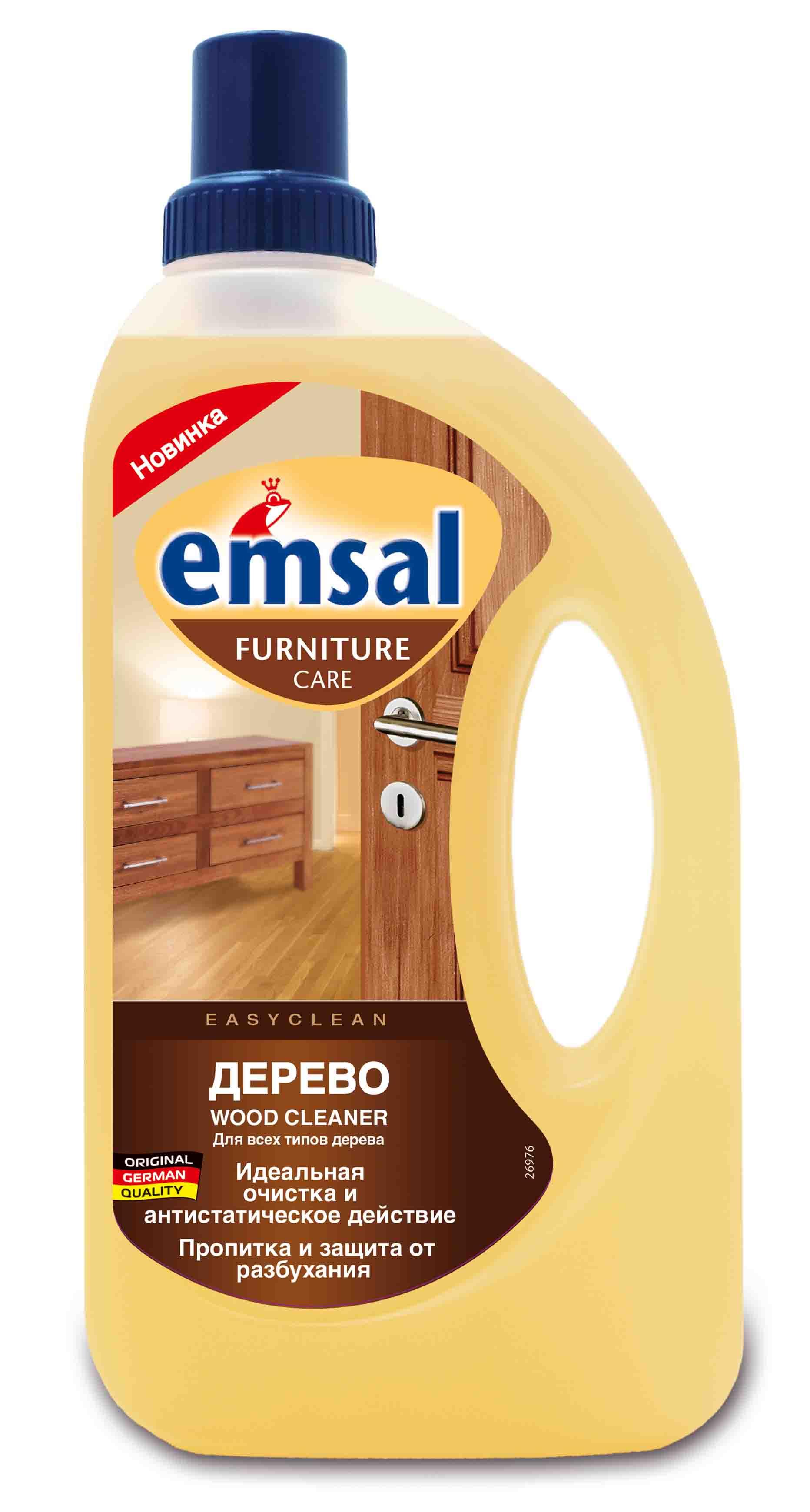 Средство для чистки деревянных поверхностей Emsal, 750 мл506948Чистящее средство Emsal идеально подходит для мягкого очищения и ухода за всеми моющимися деревянными поверхностями во всем доме: деревянными полами, деревянными рейками, деревянными дверями, мебелью, подоконниками, а также кухонными элементами. Подходит как для светлой, так и для темной древесины Уникальная рецептура с антистатической формулой не только удаляет трудновыводимую грязь и пятна,но и дольше оберегает вашу деревянную мебель от пыли. Благодаря льняному маслу, средство освежает цвет дерева, бережно ухаживает за ним, придает естественный блеск без наслоений. Характеристики:Объем: 750 мл. Производитель: Германия.Уважаемые клиенты!Обращаем ваше внимание на возможные изменения в дизайне упаковки. Качественные характеристики товара остаются неизменными. Поставка осуществляется в зависимости от наличия на складе.