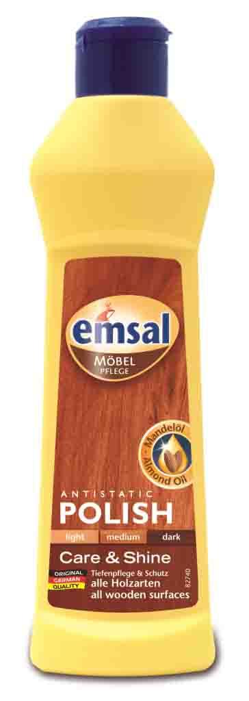 Очиститель-полироль для дерева Emsal, 250 мл707461Очиститель-полироль Emsal с насыщенным миндальным маслом подходит для интенсивной очистки и ухода за деревянными поверхностями. Ухаживает и питает, не оставляя жирных следов, защищает, покрывая легкие царапины. Не требует дополнительнойполировки, создает антистатический эффект против пыли. Не содержит воска и силикона. Характеристики:Объем: 250 мл. Состав: 15-30% алифатических углеводородов, Производитель: Германия.