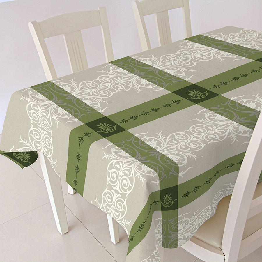 Скатерть Protec Textil Alba. Анет, прямоугольная, цвет: зеленый, 140 х 180 см5213Эксклюзивная и стильная скатерть коллекции Alba в индивидуальной упаковке. Скатерть состоит на 80% из хлопка и на 20% из полиэстера. Специальная обработка придает ткани термостойкость и влагоустойчивость. Технология производства изделий отвечает новейшим европейским стандартам. Полотна отличаются высочайшими качественными характеристиками: высокими показателями износостойкости, цветостойкости и цветопередачи, прочности ткани на разрыв, низкими показателями истираемости полотна при мнокократном использовании изделия. Скатерть обладает высокой плотностью, не скользит и не перемещается на поверхности стола, легко протирается влажной тканью, возможна деликатная стирка при температуре не выше 30 градусов. Коллекция скатертей Alba - это тренд современной хозяйки, которая предпочитает стиль и качество в сочетании с практичностью.