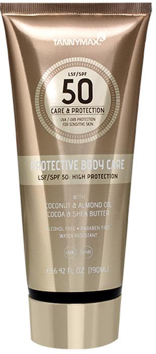 Tannymaxx SPF - Protective Body Care SPF 50 - Cолнцезащитное водостойкое средство для тела и лица SPF 50 с ухаживающими компонентами, 190 мл. 19352407Теперь Вам больше не придется выбирать между защитой от солнца и уходом за кожей – Protective Body Care справится с обеими задачами! Комбинация защитных фильтров широкого спектра действия (UVA + UVB) и ухаживающих ингредиентов позволит достичь красивого ровного загара и уберечь кожу от негативного влияния солнечных лучей. Предотвращает появление пигментных пятен. Содержащиеся в креме натуральные масла повышают естественный защитный барьер кожи, снимают раздражение и глубоко питают кожу, поддерживают оптимальный уровень увлажнения кожи в течение всего дня, способствуют регенерации. Обладает водостойким действием. Подходит для чувствительной кожи. Для лица и тела. Не содержит спирта и парабенов.