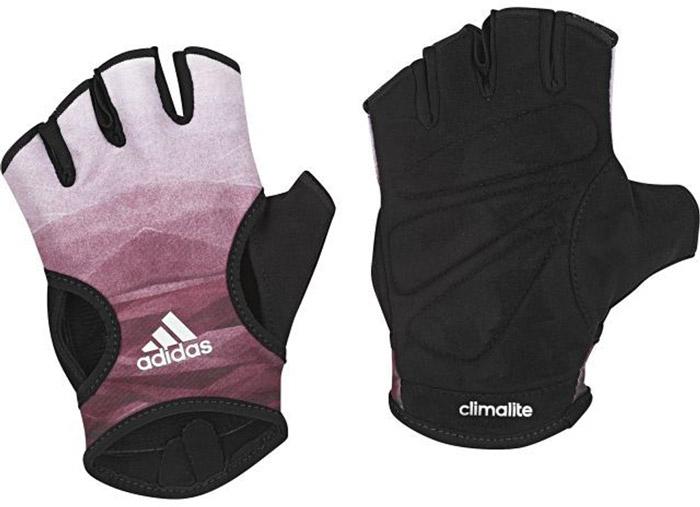 Перчатки для фитнеса Adidas Clite Glov W, цвет: черный, фиолетовый. BR6751. Размер 24232218Тренируйся эффективнее в спортивных перчатках Adidas. Модель без пальцев сшита из отводящей влагу ткани с мягкой замшевой подкладкой для дополнительного комфорта. Упругие вставки на ладонях для плотного и удобного сцепления с грифом штанги и петелька между пальцами для быстрого снимания. Ткань с технологией climalite® быстро и эффективно отводит влагу с поверхности кожи, поддерживая комфортный микроклимат.