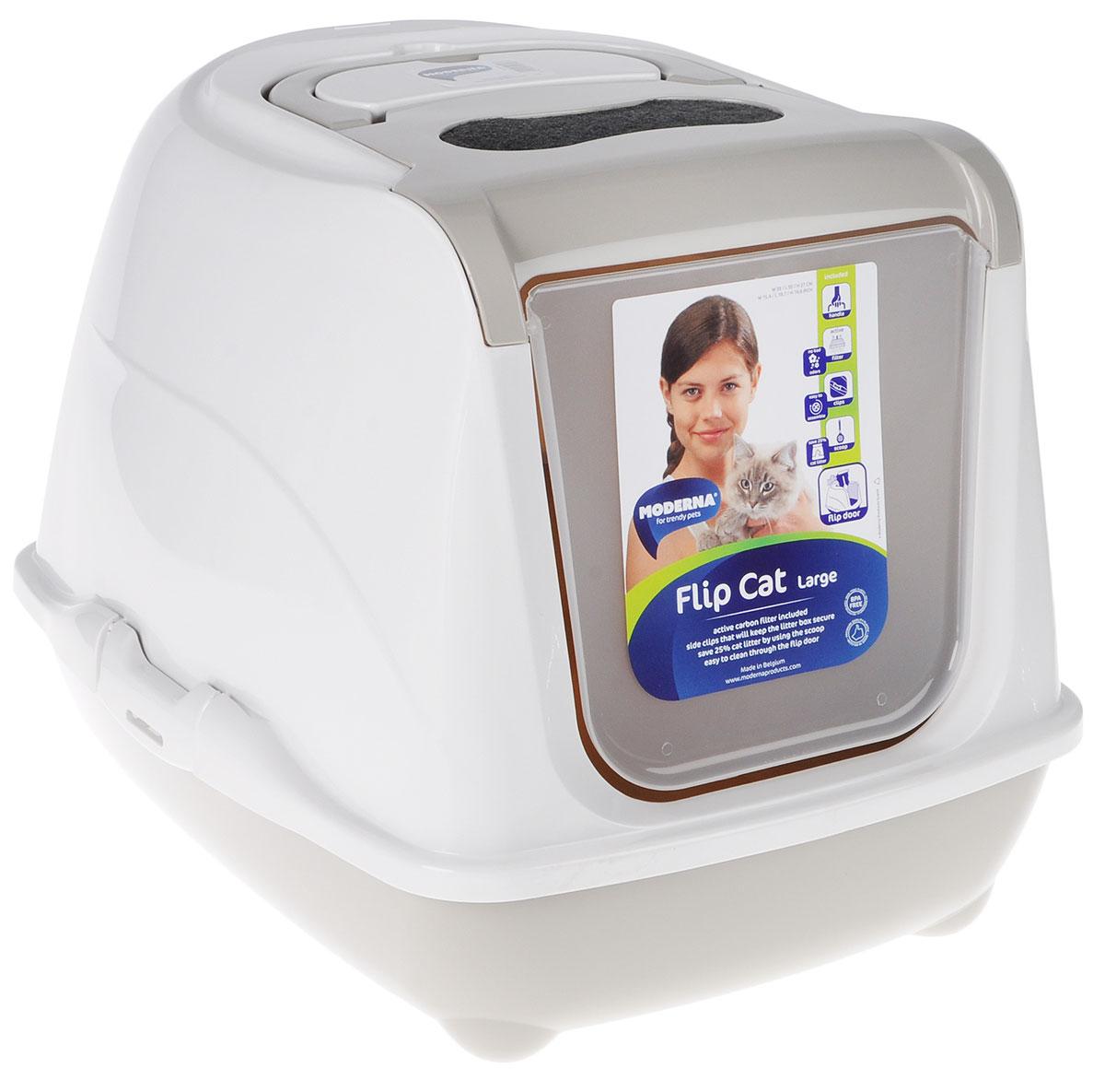 Туалет для кошек Moderna Flip Cat, закрытый, цвет: светло-серый, молочный, 50 х 39 х 37 см14C230330Закрытый туалет для кошек Flip Cat выполнен из высококачественного пластика. Туалет оснащен прозрачной открывающейся дверцей, сменным фильтром и удобной ручкой для переноски. Такой туалет избавит ваш дом от неприятного запаха и разбросанных повсюду частичек наполнителя. Кошка в таком туалете будет чувствовать себя увереннее, ведь в этом укромном уголке ее никто не увидит. Кроме того, яркий дизайн с легкостью впишется в интерьер вашего дома. Туалет легко открывается для чистки благодаря практичным защелкам по бокам.