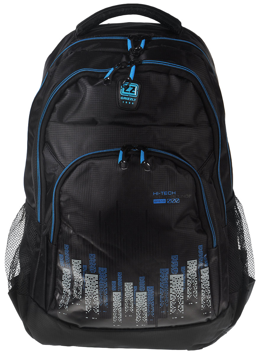 Рюкзак городской мужской Grizzly, цвет: черный, синий. RU-722-1332515-2800Рюкзак Grizzly - это красивый и удобный рюкзак, который подойдет всем, кто хочет разнообразить свои будни. Рюкзак выполнен из плотного материала с оригинальным принтом. Рюкзак содержит два вместительных отделения, каждое из которых закрывается на молнию. Внутри первого отделения имеется открытый накладной карман, на стенке которого расположился врезной карман на молнии. Внутри второго отделения расположены два открытых накладных кармана и два кармашка под канцелярские принадлежности. Снаружи, по бокам изделия, расположены два сетчатых кармана. Лицевая сторона дополнена двумя вместительными карманами на молниях. Рюкзак оснащен мягкой укрепленной ручкой для переноски, петлей для подвешивания и двумя практичными лямками регулируемой длины. У лямок имеется нагрудная стяжка-фиксатор. Практичный рюкзак станет незаменимым аксессуаром и вместит в себя все необходимое.