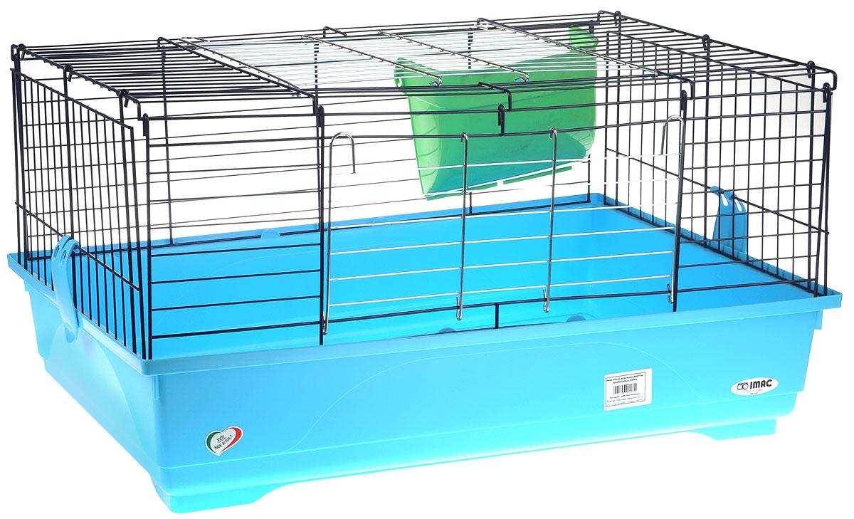 Клетка для грызунов ImacEasy 80, цвет: голубой поддон, черная решетка, зеленый сенник, 80 х 48,5 х 42 см
