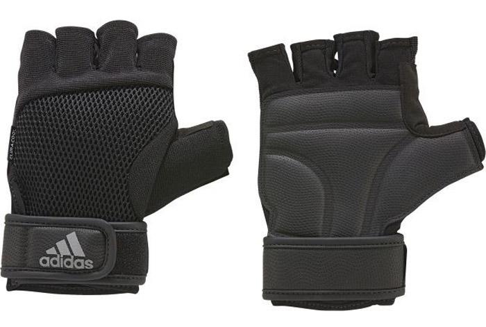 Перчатки для фитнеса Adidas Ccool Perf Gl M, цвет: черный. S99614. Размер 24130Перчатки для более Adidas предназначены для надежного и комфортного хвата при выполнении упражнений. Мягкие вставки на ладони - для большей защиты. Застежка на липучке на запястье обеспечивает плотную посадку. Освежающая технология climacool® и сетчатая вставка на тыльной стороне для оптимальной вентиляции. Технология climacool® сохраняет приятные ощущения прохлады и свежести благодаря специальным сетчатым вставкам.Амортизирующие вставки на ладонях для дополнительной защиты и сцепленияВентилируемая сетчатая вставка на тыльной стороне.Специальная вставка в области большого пальца эффективно поглощает влагуРегулируемая застежка на липучке.Петелька между пальцами для быстрого снимания.