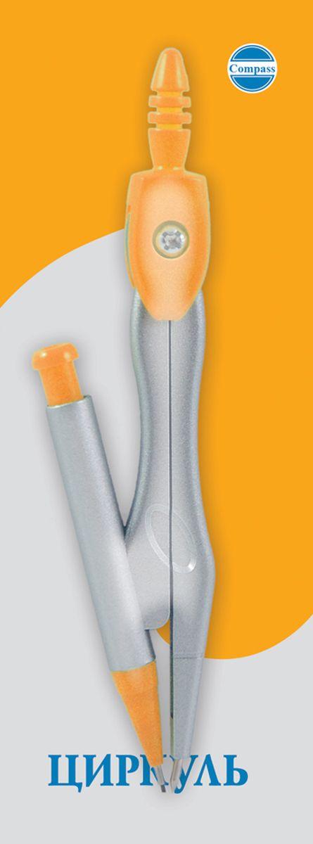 Perfecta Циркуль Козья ножка цвет белый оранжевый 11,2 смС3120-02Циркуль Козья ножка  115 мм цветной пластмассовый с фиксированной иглой и механическим карандашом, с запасными грифелями. В блистере.